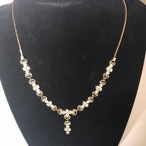 Gold and crystal necklace